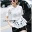 Lady Ribbon Online เสื้อผ้าออนไลน์ขายส่ง Lady Ribbon เสื้อผ้า LR10180816 &#x1F380 Lady Ribbon's Made &#x1F380 Lady Elena Elegant Chic Button-Down White Lace Blouse with Ribbon เสื้อผ้าลูกไม้สีขาว thumbnail 3