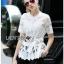 Lady Ribbon Online เสื้อผ้าออนไลน์ขายส่ง Lady Ribbon เสื้อผ้า LR10180816 &#x1F380 Lady Ribbon's Made &#x1F380 Lady Elena Elegant Chic Button-Down White Lace Blouse with Ribbon เสื้อผ้าลูกไม้สีขาว thumbnail 4