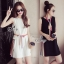 Lady Ribbon ออนไลน์ เสื้อผ้าออนไลน์ พร้อมส่งของแท้ SV04130716 &#x1F389Sevy Sleeveless Color Pleat Side Stripes Mini Dress thumbnail 1