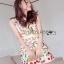 Lady Ribbon Mini Dress มินิเดรสสีครีมปักลายดอกไม้ thumbnail 2