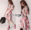 Lady Ribbon Online ขายส่ง เสื้อผ้าออนไลน์ ของแท้ ราคาถูกพร้อมส่ง เลดี้ริบบอน LR04140716 &#x1F380 Lady Ribbon's Made &#x1F380 Gucci Sweet Natural Floral Printed Pink Dress thumbnail 2
