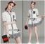Lady Ribbon Online ขายส่งเสื้อผ้าออนไลน์ เลดี้ริบบอน LR05280716 &#x1F380 Lady Ribbon's Made &#x1F380 Lady Alessandra Sweet Minimal Striped Embellished Cotton Lace Shirt Dress เชิ้ต thumbnail 1