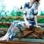 ซตเสื้อ+กางเกง ดีไซน์ผ้าพิมพ์ลายดอกไม้ใบ thumbnail 5