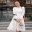 Dress เดรสผ้าลูกไม้สีขาวไสตล์คลาสสิก thumbnail 4