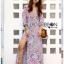 Lady Ribbon Maxi Dress เดรสยาวผ้าเครปสีฟ้า thumbnail 2