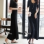 cliona Long dress สีดำแขนสั้นผ้ายืดหยุ่น thumbnail 1