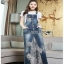 Lady Ribbon Tanya White T-Shirt Denim and Lace Overall Dress เอี้ยมยีนส์เสื้อยืด thumbnail 1