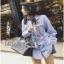 Lady Ribbon Cotton Shirt เชิ้ตลายทางสีฟ้าปักลายดอกไม้ thumbnail 1
