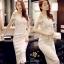 ชุดเดรสเกาหลีผ้าลูกไม้เนื้อดีแฟชั่นหนาสวย thumbnail 2