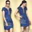 2Sister Made, Beauty Navy Jeans Vintage Dress เดรสยีนส์ลุคเก๋ๆ เนื้อผ้าเดนิมสีเข้ม ดีเทลแขนสั้น thumbnail 2