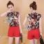 Lady Ribbon Online เสื้อผ้าแฟชั่นออนไลน์ขายส่ง เลดี้ริบบอนของแท้พร้อมส่ง sevy เสื้อผ้า SV08240716 &#x1F389Sevy Two Pieces Of Leave Stripes With Red Shorts Sets thumbnail 1