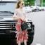 Normal Ally Present Casual summer V-neck bow back shirt and vintage print layer skirt set&#x1F389 (เสื้อ + กระโปรง, มีซับในอย่างดี) thumbnail 2