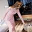 Lady Ribbon Mini Dress เดรสผ้าลูกไม้สีชมพูอ่อนสุดหรู thumbnail 2