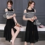 Sevy Strips Cut Shoulder Chiffon Open Leg Dress thumbnail 2