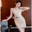 Lady Ribbon Chic gold Lace Mini Dress thumbnail 1