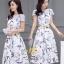 เสื้อผ้าแฟชั่นเกาหลีพร้อมส่งชุดเดรสแขนล้ำ ผ้าซาตินซิล thumbnail 1
