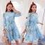 2Sister Made, Sweet Lovely Cuties Blue Wonder Dress เดรสสั้นลุคสาวหวาน ผ้าchiffonพริ้วบางเบาพิมพ์ลายดอกสวยทั้งตัว thumbnail 1