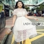 Lady Ribbon Self-Portrait White Lace Midi Dress thumbnail 1