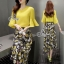 Lady Ribbon Online เสื้อผ้าแฟชั่นออนไลน์ขายส่ง เลดี้ริบบอนของแท้พร้อมส่ง sevy เสื้อผ้า SV04240716 &#x1F389Sevy Two Pieces Of Yellow Blouse With Flora Layer Skirt Sets thumbnail 3