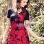 Lady Ribbon Online เสื้อผ้าออนไลน์ขายส่ง lady ribbon เสื้อผ้า LR16150816 Red Roses Embroidered Mini Dress มินิเดรสปักลายดอกกุหลาบสีแดง thumbnail 3
