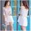 Lady Ribbon Online ขายส่งเสื้อผ้าออนไลน์เลดี้ริบบอน LR20010816 &#x1F380 Lady Ribbon's Made &#x1F380 Lady Nicole Sweet Feminine Off-Shoulder Lace and Polyester Dress thumbnail 1