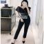 Black Lace Frill Lady Ribbon Jumpsuit จัมป์สูท thumbnail 2