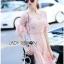 Lady Ribbon ขายส่งเสื้อผ้าออนไลน์พร้อมส่งของแท้ LR20220716 &#x1F380 Lady Ribbon's Made &#x1F380 Lady Anna Sweet Feminine Floral Pink Lace Dress เ thumbnail 4