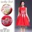 2Sister Made, Beauty Red Velvet Color Dress เดรสสั้น ลุคเรียบหรูสีแดงสด เนื้อผ้าpolyester+silkเกรดดี thumbnail 1