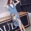 Lady Ribbon Online เสื้อผ้าออนไลน์ขายส่ง Normal Ally เสื้อผ้า NA01150816 &#x1F389Normal Ally Present Denim bib skirt summer set&#x1F389 (เอี้ยมยีนส์ปักเลื่อม + เกาะอกสีดำ) thumbnail 5