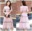 Lady Ribbon Online ขายส่งเสื้อผ้าออนไลน์ Lady Ribbon พร้อมส่ง LR18040816 &#x1F380 Lady Ribbon's Made &#x1F380 Lady Carly Feminine Pinky Striped Lace Maxi Dress เดรสยาวผ้าลูกไม้สี thumbnail 1