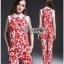 Lady Ribbon Red Floral Printed Collared Top and Pants Set เซ็ตเสื้อและกางเกงขายาว thumbnail 1