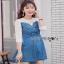 Lady Ribbonc Lace and Denim Mini Dress thumbnail 4