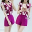 Sevy Two Pieces Of Shocking Pink Square Blouse With Shorts Sets thumbnail 3