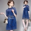 2Sister Made, Navy Color Style Jeans Cuties Dress เดรสยีนส์สั้น thumbnail 1