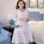 Lady Ribbon Vanessa Classic Feminine White Lace Midi Dress thumbnail 3