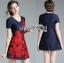 Lady Ribbon Online เสื้อผ้าออนไลน์ขายส่ง lady ribbon เสื้อผ้า LR16150816 Red Roses Embroidered Mini Dress มินิเดรสปักลายดอกกุหลาบสีแดง thumbnail 2