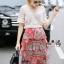 Normal Ally Present Casual summer V-neck bow back shirt and vintage print layer skirt set&#x1F389 (เสื้อ + กระโปรง, มีซับในอย่างดี) thumbnail 3