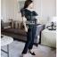 Black Lace Frill Lady Ribbon Jumpsuit จัมป์สูท thumbnail 4