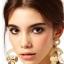 F597 - ต่างหูทอง ตุ้มหูทอง ตุ้มหู ต่างหู ต่างหูทองคำ เครื่องประดับ golden disc drop earrings thumbnail 2