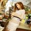 Lady Ribbon Self-Portrait Mixed White Lace Mini Dress thumbnail 3