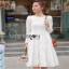 Dress เดรสผ้าลูกไม้สีขาวไสตล์คลาสสิก thumbnail 3