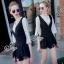 Lady Ribbon Online เสื้อผ้าแฟชั่นออนไลน์ขายส่ง เลดี้ริบบอนของแท้พร้อมส่ง sevy เสื้อผ้า SV11240716 &#x1F389Sevy Two Pieces Of Lace Half Sleeve Blouse With V-Neck Lace Edge Bib Playsuit Sets thumbnail 2