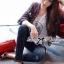 Lady Ribbon Online ขายส่งเสื้อผ้าออนไลน์ ขายส่งของแท้พร้อมส่ง Lady Ribbon LR17250716 &#x1F380 Lady Ribbon's Made &#x1F380 Lady Kim Skinny Jeans with Crystal Embellished thumbnail 1