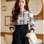 Lady Ribbon Online เสื้อผ้าออนไลน์ขายส่ง Lady Ribbon เสื้อผ้า LR13180816 &#x1F380 Lady Ribbon's Made &#x1F380 Lady Kim Smart Casual Check Embroidered Playsuit thumbnail 2