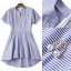NA11290816 &#x1F389Normal Ally Present blue and white striped decorate southsea white pearl dress&#x1F389 (เดรส , งานแต่งห่วงมุก) thumbnail 7