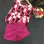 Sevy Two Pieces Of Shocking Pink Square Blouse With Shorts Sets thumbnail 4