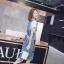 NA15290816 &#x1F389Normal Ally Present Denim bib skirt summer set&#x1F389 (เอี้ยมยีนส์ปักเลื่อม + เกาะอกสีดำ) thumbnail 5