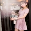 Mini Dress มินิเดรสตกแต่งผ้าพลีตสีชมพู thumbnail 5