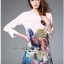 Lady Ribbon Online ขายส่งเสื้อผ้าออนไลน์เลดี้ริบบอน LR10010816 &#x1F380 Lady Ribbon's Made &#x1F380 Lady Olivia Smart Casual Colourful Printed Dress เดรสผ้าสีขาว thumbnail 2