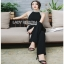 Lady Ribbon Smart Casual Pearl Black Jumpsuit ขายส่งจัมป์สูท thumbnail 1
